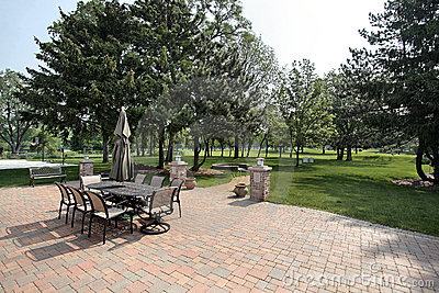 Brick patio with golf course view