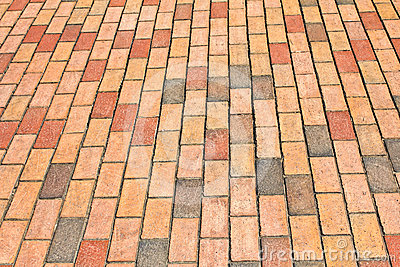 Brick pavement in a city