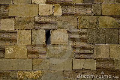 Brick and stone block wall texture