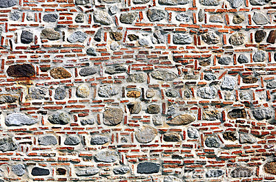 Brick and stone wall.