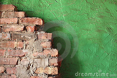 Brick and Stucco Wall