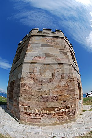 Brick tower blue sky fisheye