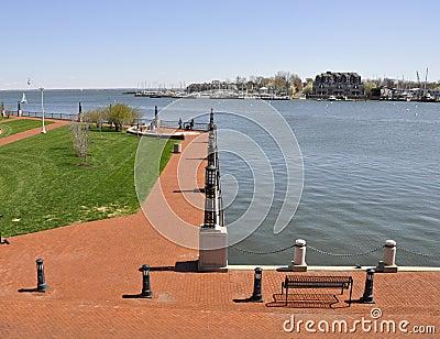 Brick walkway by water
