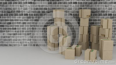Brick wall background with cardboard boxes