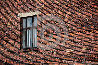 Brick wall background with window