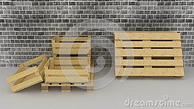 Brick wall background with wooden boxes and pallets