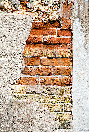 Brick wall with big crack