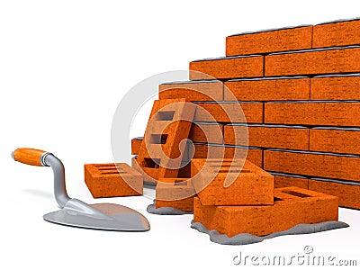 Brick wall construction house