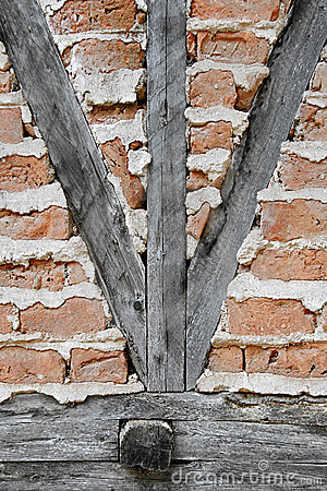 Brick wall with crossbeams
