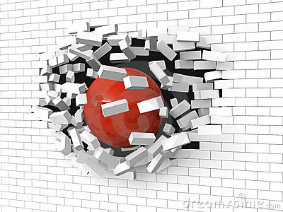 Brick wall destroyed by a red ball