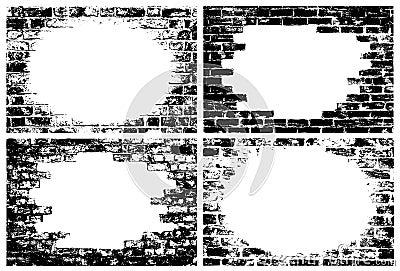 Brick wall grunge borders