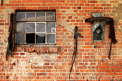 Brick wall with harness