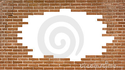 Brick wall with a large hole