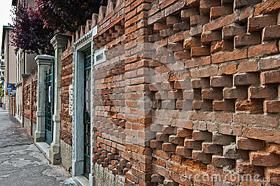 Brick Wall in Lido, Venice