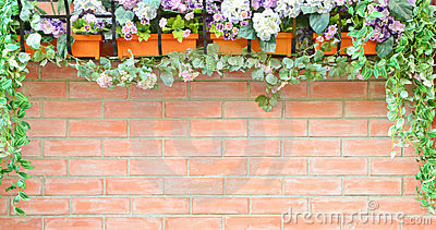 Brick wall with natural frame