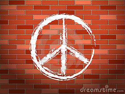 Brick wall and peace symbol