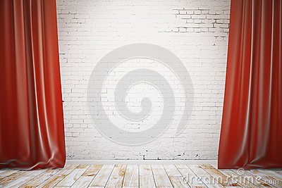 Red Curtains On Brick Wall Background Stock Vector - Image: 45914723