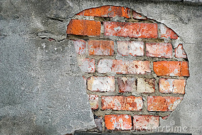 Brick wall in ruins