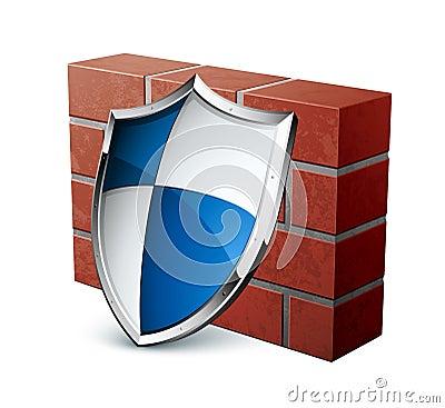 Brick wall and shield