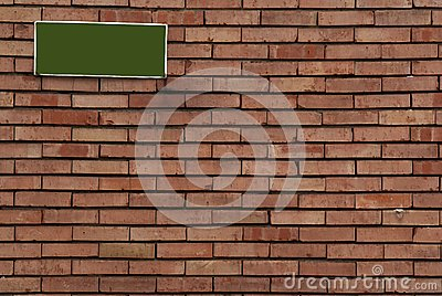 Brick wall with sign on it