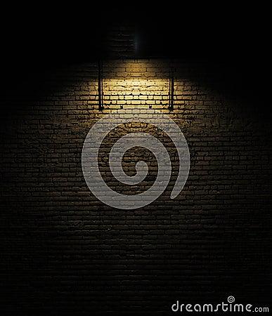 Brick wall with spotlight