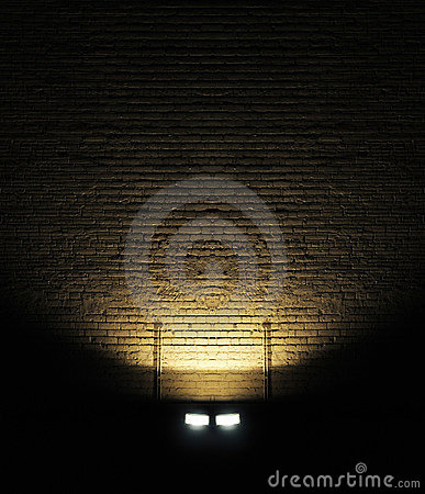 Brick wall with spotlight