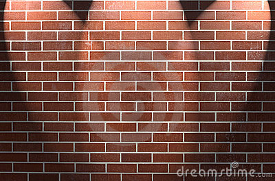 Brick Wall with Three Spotlights