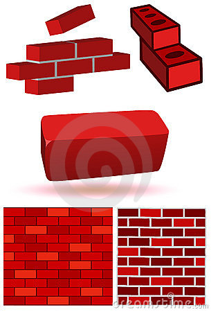 Brick and wall vector illustration set