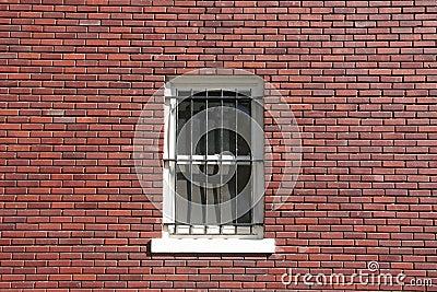 Brick wall, window and bars