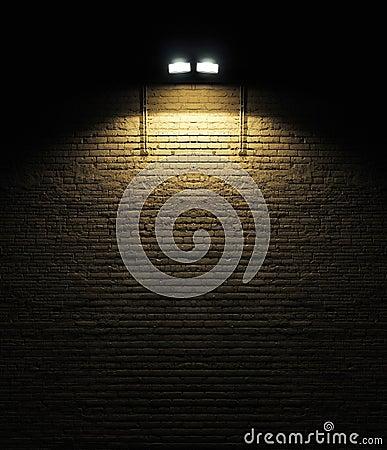 Free Brick Wall With Spotlight Royalty Free Stock Photo - 14474175