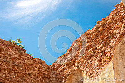Brick walls on blue sky