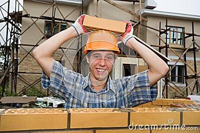Bricklayer(mason) and bricks