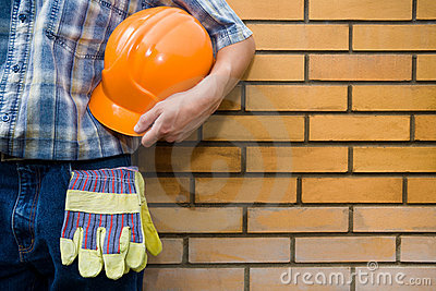 Bricklayer(mason) and bricks