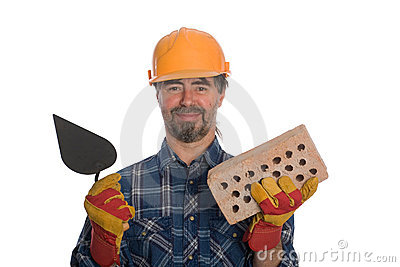 Bricklayer with trowel and brick.