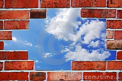Bricks and blue summer sky