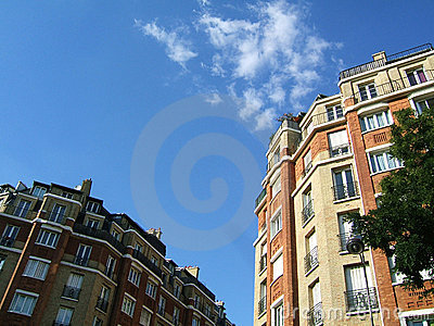 Bricks buildings in the sky