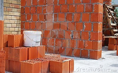 Bricks at construction site