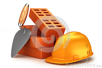 Bricks, helmet and trowel