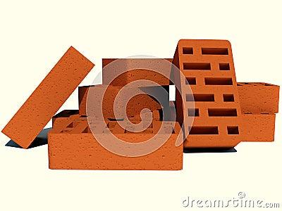 Bricks on a white background
