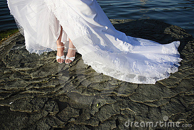 Bridal accessories, shoes and feet.