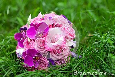 Bridal  bouquet in a grass