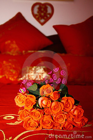 Bridal Bouquet on a red bed