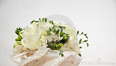 Bridal bouquet of roses in handmade paper
