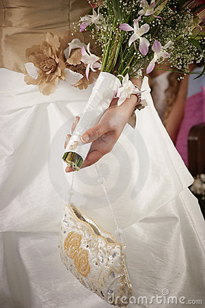 Bridal bouquet on the wedding ceremony