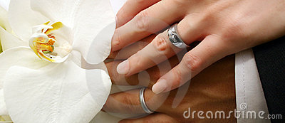 Bridal couple s hands