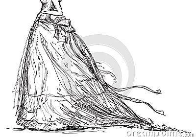 bridal dress drawing