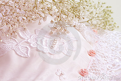Bridal flowers and lace