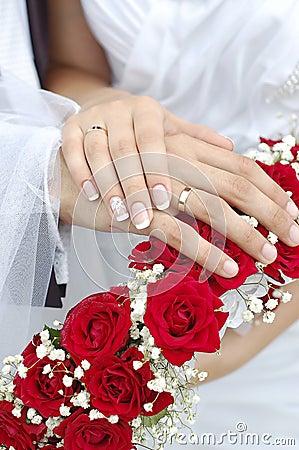 Bridal Groom Wedding Hands on Bouquet