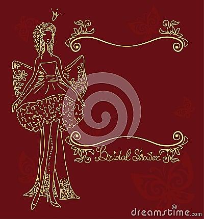 Bridal Shower hand drawing card