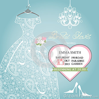 Free Bridal Shower Invitation.Wedding Lace Dress On Royalty Free Stock Images - 49981929